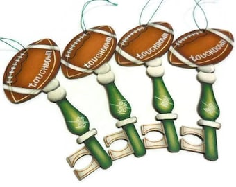 Football Ornament | Hand Painted Football Key Ornament | Tole Painted Sports Theme Ornaments