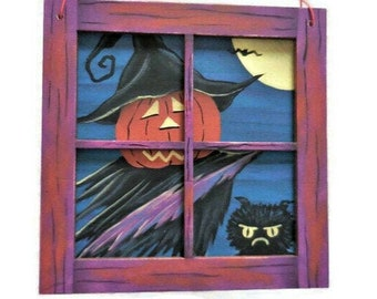 Witch In Window Halloween Decor   You Can't Come In   Pumpkin Head Witch & Grumpy Cat Peering In Window  