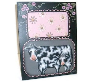 Cow And Calf Hand Painted On Photo Frame