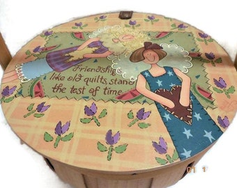 Tole Painted Quilt Design Basket   Large Chipwood Basket with Wood Hinged Lid   Friendships Like Old Quiltss