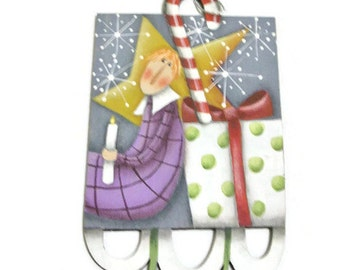 Whimsical Angel Hand Painted Ornament