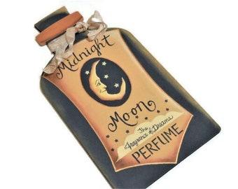 Midnight Moon Perfume Tole Painted Sign   Wood Perfume Bottle Shape Sign  