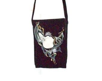 Black Suede Leather Purse Hand Painted With Calla Lily   Cross Body Purse   Shoulder Bag