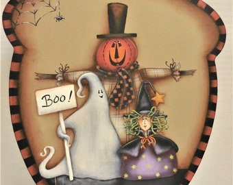 Fall Halloween Scene on Acorn Shape Wood    Wall Decor With Fall Design   Scarecrow, Ghost and Witch Sign On Acorn Shape Wood