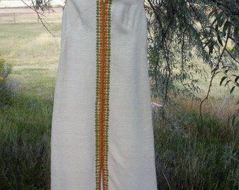 Exquisitely Embroidered HANDWOVEN Raw Silk Dress GREEK CAFTAN Hostess Gown - L