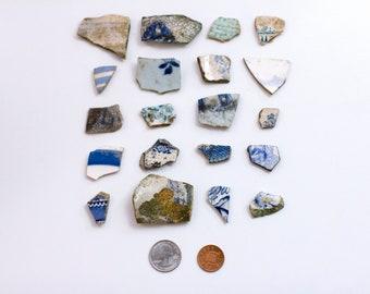 Set of 20 Blue and White London Thames Sea Pottery, Ceramic Shards, Porcelain, Broken China, Willow pattern, Beachcombing, Mudlarking