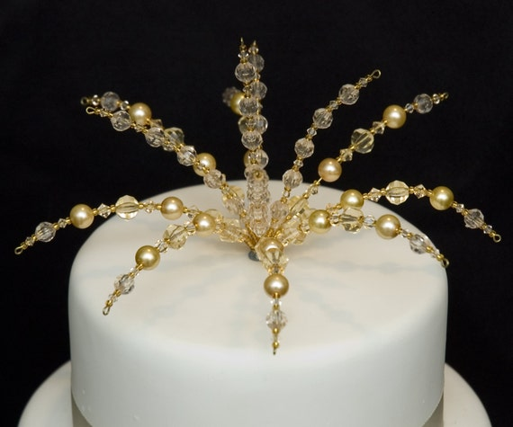 Wedding Cake Topper For Diy Cakes Decorations Other Colours Crystals And Beads Gold Wedding