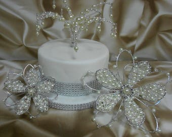 Celebration Cake Toppers UK -  Crystals & Pearls - Medium size flower (other sizes/styles available) - Hand crafted to order