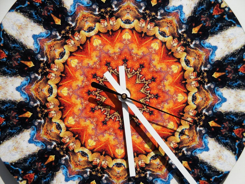 Copper Patina Macro Mandala Print Art 10 Wall Clock #09185-4 #-FREE SHIPPING-# Vintage 78rpm Record,Modern,Decor,Housewares,Home,Living