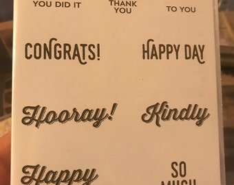 Perfect Pairings  Sale-A-Bration  Wood Mount  Rubber Stamp  All Occasion Sayings  Birthday Wishes  Happy Day  Congrats Stampin/' Up