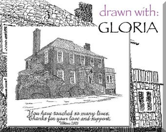 Personalized Sketches House artwork with additional calligraphy