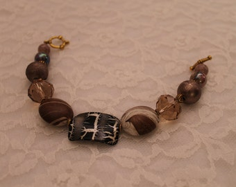 Brown,Black,and Silver,Amber Beaded Bracelet
