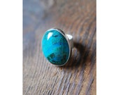 Clear Moment Ring Statement Turquoise Chrysocolla Ring