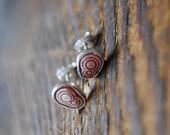 Pink Rhodochrosite Spiral Studs Rare