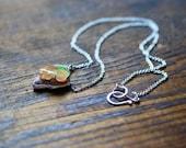 Raw Rainbow Fire Opal Heart Necklace Freeform