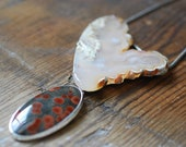 Prevernal Necklace White Plume Collector Agate and Red Polka Dot Agate