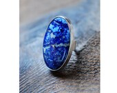 Dollybird Denimn Star Statement Ring Blue Lapis And Pyrite