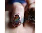 Dollybird Rainbow Fire Opal Ring Raw Opal