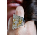 Gold Rush Ring Cubed Pyrite Trapped in Quartz Rare Cubed Inclusions