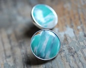 Variscite Button Stud Statement Earrings