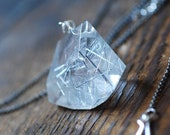 Angel Hair Necklace Faceted Collector Inclusion Quartz