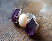 Violet Glow Ring Fire Opal and Amethyst