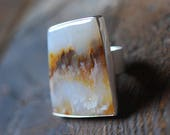 Harvest Plume Ring White Plume Agate