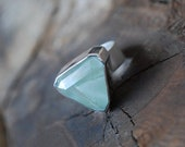 Included Chlorite In Quartz Cocktail Ring Collector Faceted Green Quartz