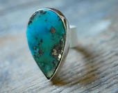 December Ring American Turquoise Shiny Golden Pyrite Inclusions