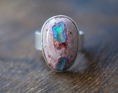 Pools Of Light Ring Bright Blue Raw Rainbow Fire Opal