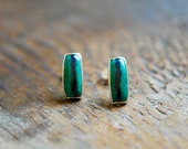 Color Striped Studs Blue Azurite and Malachite Gem Earrings