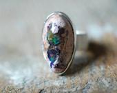 Dollybird Rainbow Fire Opal Ring Raw Opal