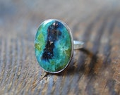 Green Garden Ring Rare Opalized Wood and Crystallized Copper