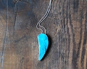 Open Sky Pendant Rare Blue Hemimorphite Statement Gem Mother's Day Gift Layering Necklace