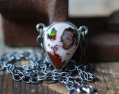 Raw Rainbow Fire Opal Station Necklace