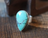 Pool Ring Nevada Blue Mine Natural Turquoise