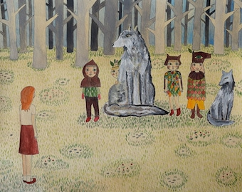 Annabelle Meets the Wild Children Raised by Wolves original art illustration painting