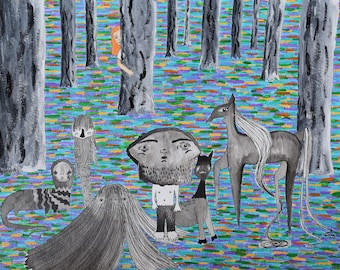 In the Brightest and Darkest Corner of the Woods, Annabelle Discovers the Forest Monsters art illustration painting original
