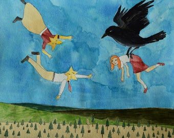 The Night Bird Introduces Annabelle to the Star Folk original art illustration painting
