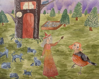 The Forest Witch transforms Annabelle into a Bird Original Art Illustration Drawing Painting