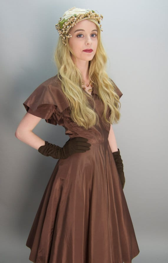 Vintage 1940s chocolate brown dress 40s day dress