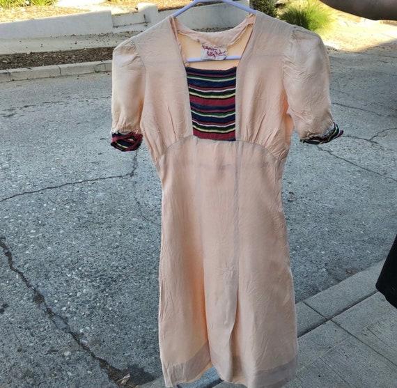Vintage RARE 1940s light pink with rainbow ribbon