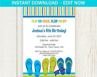 1ba7a2b11bbdbd Flip flop Birthday Invitation - Pool Party invitation - EDIT NOW - summer party  invitation birthay party - Digital printable