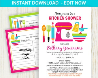 kitchen bridal shower invitation kitchen shower invitation edit now bridal shower matching recipe cards no 432