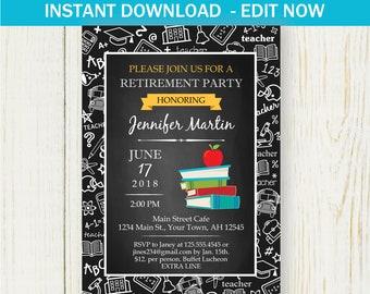 Retirement Invitation, Instant download EDIT NOW Invitation, blackboard teacher retirement