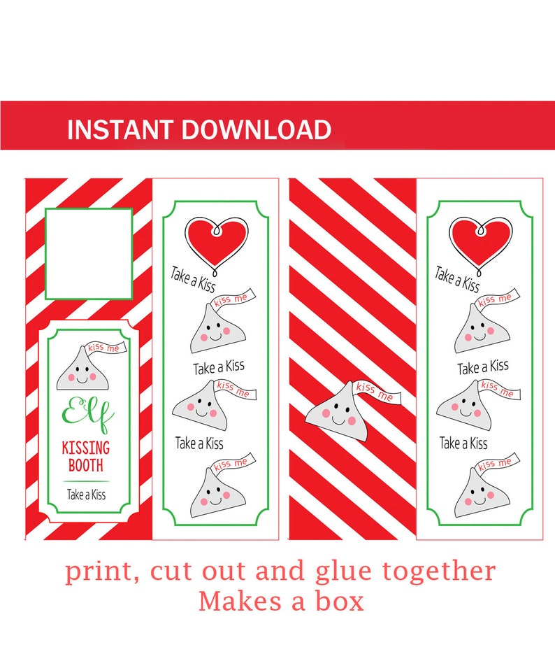 picture relating to Elf on the Shelf Kissing Booth Free Printable called Kissing Booth for Elf n shelf Xmas season Immediate Obtain Printable