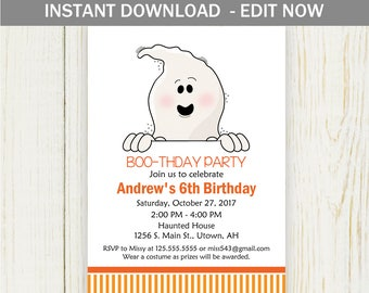 Halloween Ghost Birthday Party Invitation - digital EDIT NOW - halloween ghost birthday party costume party