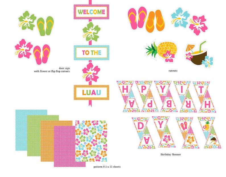 Luau Birthday Party supplies 15 pcs digital files aloha Hawaiian party flip flops editable invitation