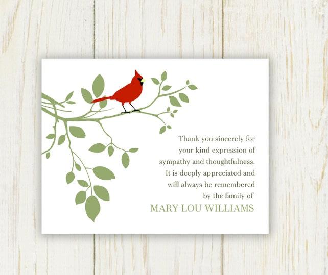 red bird funeral thank you card digital sympathy card etsy