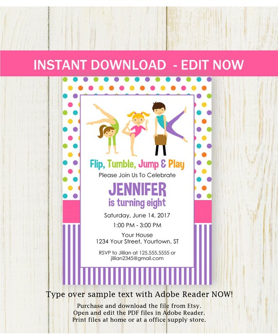 Gymnastic Birthday Invitation Boy Girl